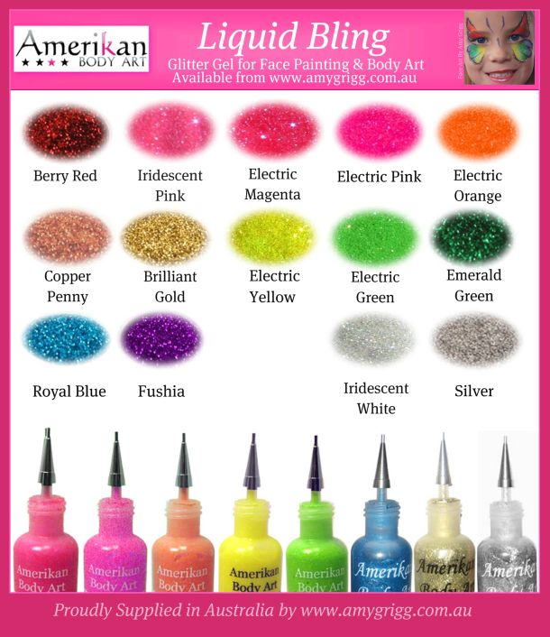 Amerikan Body Art Liquid Bling in 17 Colours!