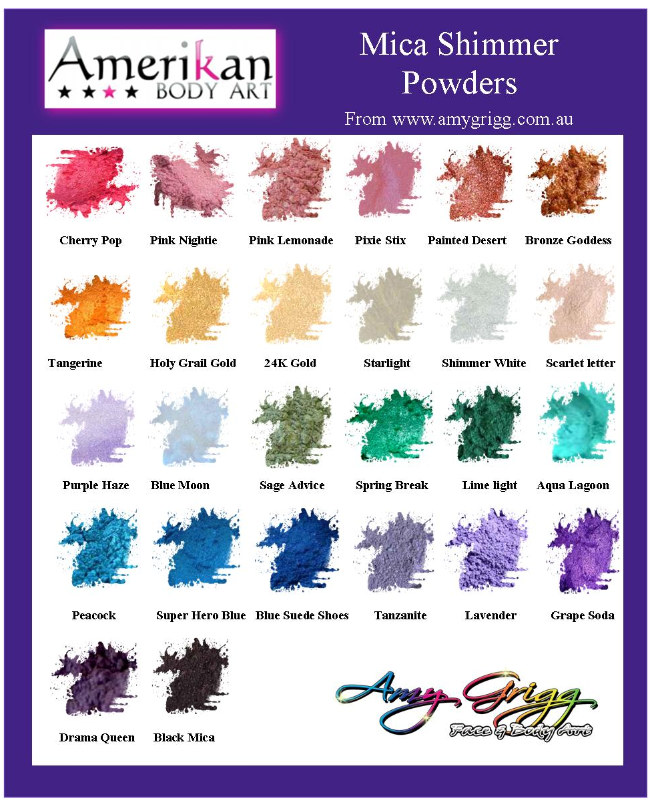 Amerikan body Art Mica Shimmer Powders 3g
