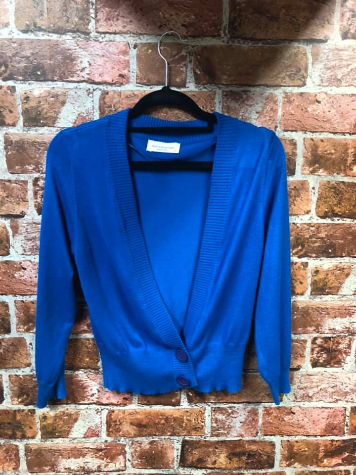 Recycled Fashion- Portmans Blue Cardigan size Medium