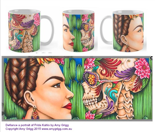Mug- Defiance- A protrait of Frida Kahlo by Any Grigg