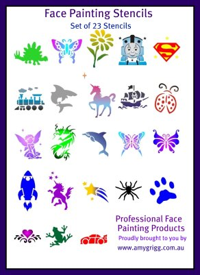 Face Painting Stencils- Full Set of 23 Stencils