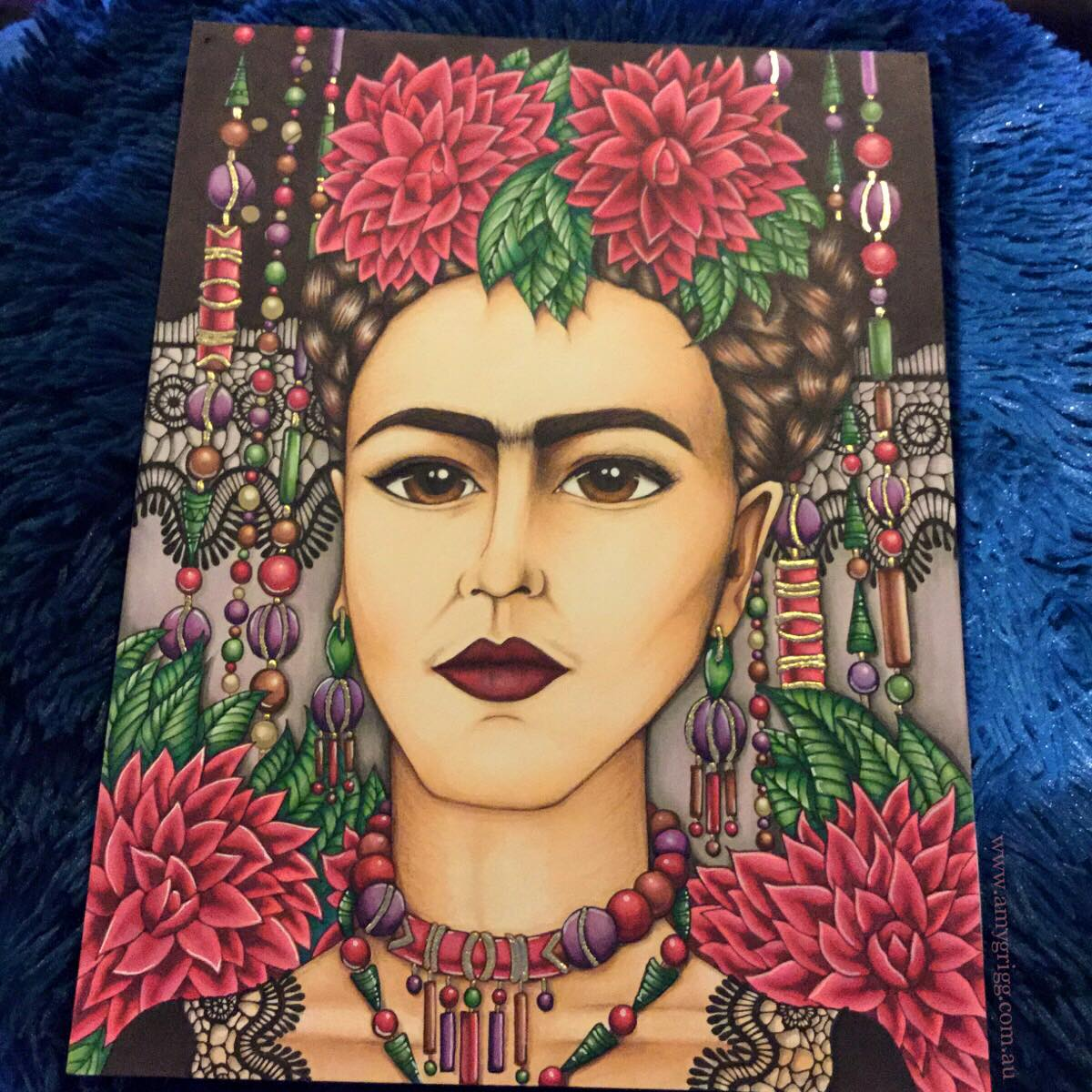 Frida Kahlo with Lace- Orginal Artwork By Amy Grigg