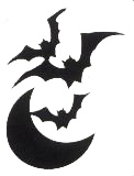 Glitter Tattoo Stencil Bats and Moon
