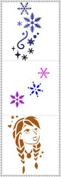 Snow Set Face Painting Stencils- Pack 3- Set of 3 Stencils