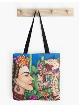 Tote Bag Featuring Defiance A portrait of Frida Kahlo By Amy Grigg